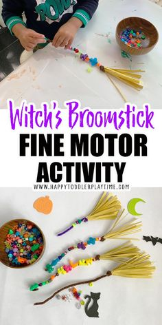 Witch's Broomstick Fine Motor Activity - HAPPY TODDLER PLAYTIME