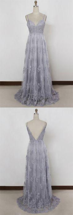 elegant spaghetti strap gray lace prom dress, beautiful grey lace spaghetti strap party dress