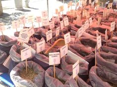 Herbs at the market for different illnesses
