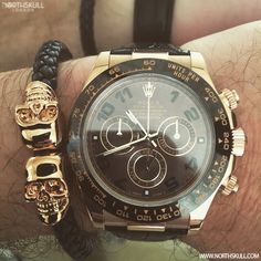 Chocolate Brown /Gold Rolex Daytona Watch nicely paired with our Black Nappa Leather & 18Kt. Gold Twin Skull Bracelet