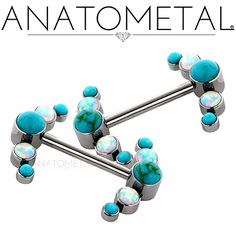 """1/2"""", 14ga Side-Set Gem Barbells with Clusters in ASTM F-136 titanium: synthetic Turquoise and synthetic Opal #17 gems"""