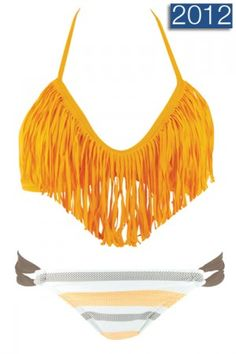 Orange Halter Fringe & Stripe