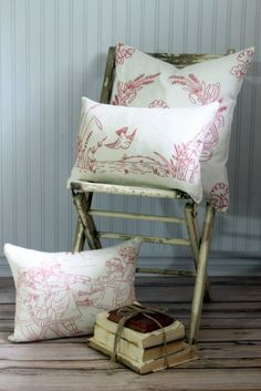 Decorative Pillow Cover Vintage Redwork 20 x by SuttonPlaceDesigns, $40.00
