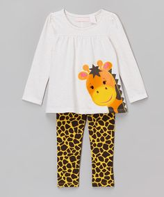 Another great find on #zulily! Kids Headquarters White & Yellow Giraffe Tunic & Leggings - Infant, Toddler & Girls by Kids Headquarters #zulilyfinds