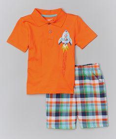 Look at this #zulilyfind! Orange Rocket Polo & Green Plaid Shorts - Infant & Boys by Kids Headquarters #zulilyfinds