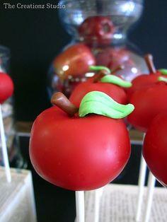 Cake Pop Apples #cakepops #red #apples #backtoschool