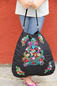 Black Huipil  Skye tote by CasaOtomi on Etsy