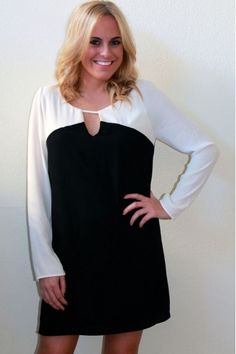 black and white shift dress $54  www.herringstonesboutique.com