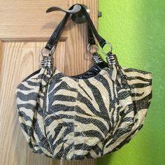 Zebra patterned, sparkly purse Black faux leather straps Bags