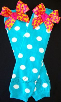 Turquoise polka dot leg warmers with bows for by Bellaclairebaby, $13.00