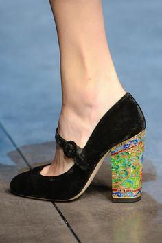 Dolce and Gabbana's velvet and Byzantine heeled mary janes.