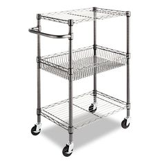 Amazon.com - Alera 3-Tier Wire Rolling Cart, 16 by 26 by 39-Inch, Black Anthracite - Kitchen Storage Carts