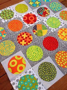 Okay, I loooovin' this quilt!  How about big Kaffe Fassett, etc prints on b/w???