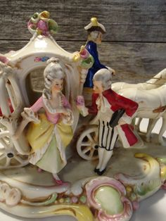 vintage german statue horse and carriage embossed germany 19437 victorian english lord and lady by FarmFreshTreasures on Etsy