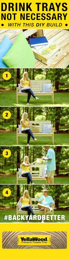 Drink trays not necessary with this DIY outdoor Lazy Bench hack. Enjoy a refreshing lemonade from your backyard bench without any spills.