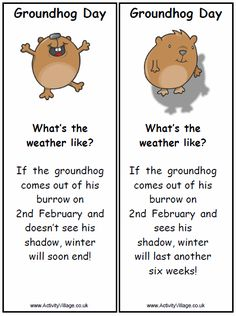 Feb. 2nd is Groundhog's Day. Make Groundhog Day Puppets to ...
