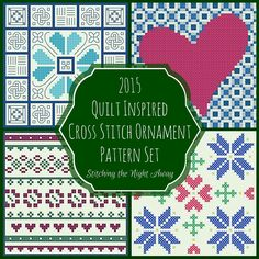 Quilt Inspired Cross Stitch Ornament Pattern Set by StitchingWithRetta on Etsy