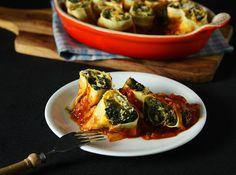 Kuerbis-Pastaroellchen #kuerbis #pumpkin #pasta #spinat #spinach #vegetarisch #nudelteig #gratin