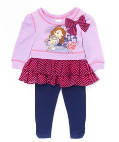 Love this Purple & Pink Sofia the First Tunic & Leggings - Toddler & Girls by Disney Junior on #zulily! #zulilyfinds