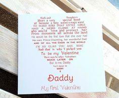 Daddy Valentine Card Daddy Daughter My First by UniqueWordsJersey
