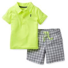 2-Piece Polo & Woven Short Set