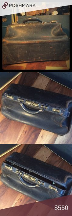 Vintage leather doctor's travel bag!❤️ Amazing antique piece really and my fellow prop masters and set designers will appreciate what a rare find this is for that perfect set or shoot-or avant garde style! Bags Luggage & Travel Bags