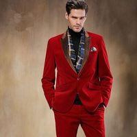 2017 Autumn Winter Black Red Velvet Man Suit 2 Piece Mens Wedding Prom Dinner Suits Brown Lapel Groom Tuxedos Casamento Terno