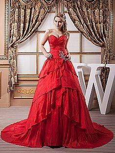 Sweetheart Beaded and Tiered Taffeta Prom Dress - USD $269.00