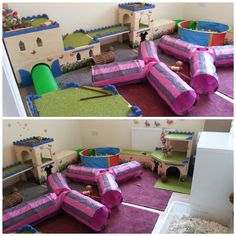 I love this indoor playroom setup for small pets. I'd replace the tubes with fleece tubes for my chinchillas but everything else looks great. Bunny Cages, Rabbit Cages, Rabbit Toys, Pet Rabbit, Indoor Rabbit House, House Rabbit, Bunny Supplies, Indoor Playroom, Rabbit Enclosure
