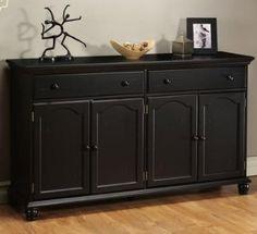 "Harwick Black Credenza Sideboard Buffet Table 35""H x 60""W x 16""D, 60""W, BLACK: Furniture & Decor"