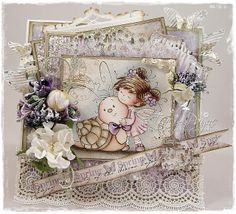 Card created by LLC DT Member Tracy Payne, using papers from Maja Design's Vintage Spring Basics collection and a Whimsy image.
