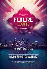 Buy Future Lights Flyer by styleWish on GraphicRiver. Future Light Flyer Template This flyer template is designed with the city as main inspiration. The bold colors and s. Flugblatt Design, Cover Design, Layout Design, Light Design, Event Design, Interior Design, Flyer And Poster Design, Poster Design Inspiration, Graphic Design Posters