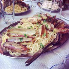 "Seafood spaghetti. ""Limanaki"" tavern. Loutraki. Greece"
