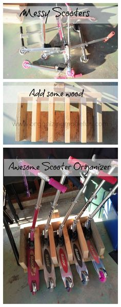 Scooter Stand Organizer using scrap wood and a FREE printable | OrganizingMadeFun.com