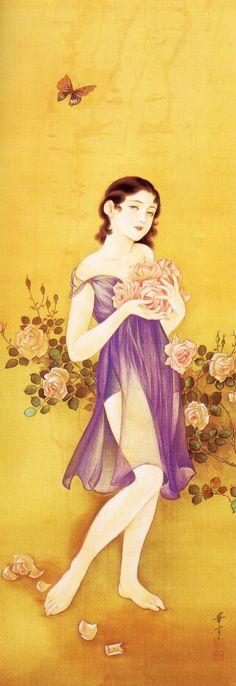 Takabatake Kashou 高畠華宵 Bara no ka 薔薇の香 (Rose's fragrance) - Japan - 1937 Vintage Japanese, Japanese Girl, Japanese Illustration, Perfume, China Painting, Japanese Prints, Japan Art, Artist At Work, All Art