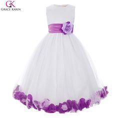 Flower Girl Dress For Beach Wedding Pageant Petals Bow Sash Grace Karin Floor Length Purple Blue Red Flower Girl Dress 8936