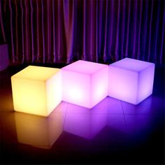 RGB Rechargeable Led illuminated Furniture Remote Control Outdoor Led Cube Chair bar KTV Pub Plastic Tables lighting ~ Shop 4 Xmas n Locate this beautiful piece simply by clicking the VISIT button. Cube Chair, Interior Led Lights, Led Furniture, Novelty Lighting, Plastic Tables, Outdoor Lighting, Lighting Ideas, Pink Room, Neon Colors
