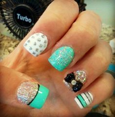 Tiffany Blue Nails With Glitter and Bow