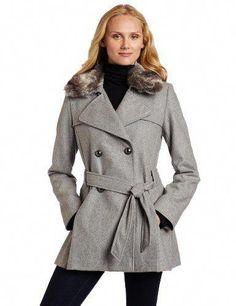 47b9d47db037f Via Spiga Women`s Via Spiga Pleated Wool Trench Coat with Faux Fur Collar