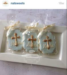 Two dozen baby blue and gold christening cookies with cream color ribbon! Cookies are 4 in size. Our sugar cookies are made with highest