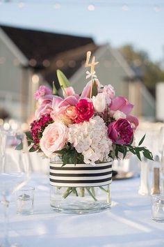 Ideas Wedding Flowers Pink Table Floral Design For 2019 Rustic Wedding Decorations, Bridal Shower Decorations, Wedding Centerpieces, Table Centerpieces, Wedding Themes, Pink Flower Centerpieces, Black And White Centerpieces, Centerpiece Ideas, Wedding Ideas