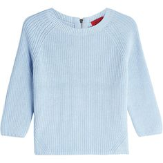 Hugo Ribbed Cotton Pullover ($130) ❤ liked on Polyvore featuring tops, sweaters, blue, blue top, blue sweater, crop top, fringe crop top and blue pullover sweater