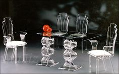Muniz Beautifully Designs Acrylic Furniture, Dining Sets & More! Crystal Furniture, Lucite Furniture, Acrylic Furniture, Glass Furniture, Art Deco Furniture, Dining Room Furniture, Furniture Design, Glass Chair, Glass Dining Table