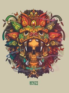 Brilliant illustration artwork by Pequeño Capitan Mx Santiago. Such an amazing work will be liked by you all. Street Art Graffiti, Body Art Tattoos, Tatoos, Aztec Warrior, Mexico Art, Mexico 2017, Skull Artwork, Aztec Art, Skull Art