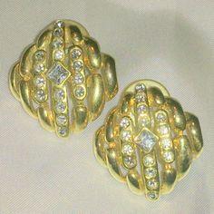 Vintage 1980's Gold Tone Rhinestone Earrings by BorrowedTimes