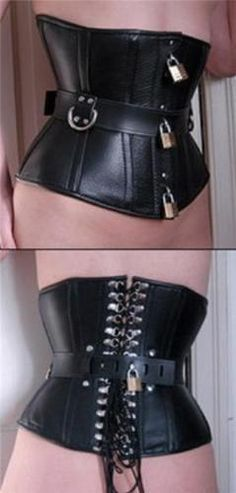 This Locking Hasp Corset is perfect for heavy bondage and fashion. With lace-up binding up the back, and lockable hasps in front. A lockable belt/waist cincher with two d-rings in front enables control over cinching of the waist. Hobble Skirt, Couture Accessories, Waist Training Corset, How To Pose, Sexy Outfits, Locks, Girls, Mini Skirts, Feminine