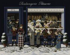 """Jo Héliotrope artiste peintre français huile sur toile 2014 """"Boulangerie E…"""