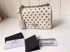 Limited Edition!Prada 2016 Runway Shoulder Bags Cheap Sale -Prada Chalk White Calf Leather Shoulder Bag with Grommet Details and Chain