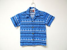 SUMMERTIME BLUES . boy's button down . printed blue cotton shirt  . size 5T by june22 on Etsy