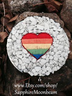 Magic Mirror Compact Rainbow Heart White Howlite stones Handmade Bohemian Hippie Pagan Wicca Magick Metaphysical on Etsy, $30.00